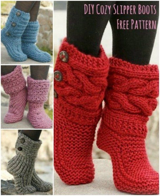 Knitted Slipper Boots Pattern Is Free And Easy | The WHOot