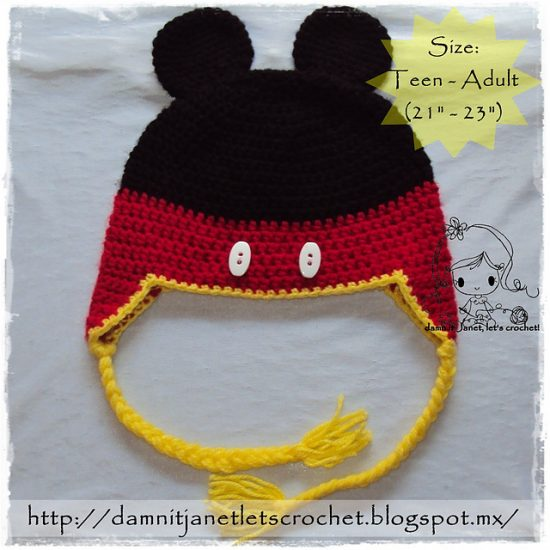 Mickey Mouse Hat Free Crochet Pattern