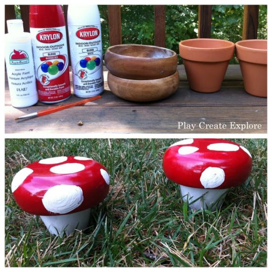 Clay Pot Toadstools using wooden salad bowl for mushroom top