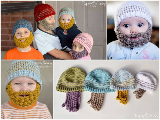 Crochet Bobble Beanie Beards Free Patterns in child, toddler and adult size
