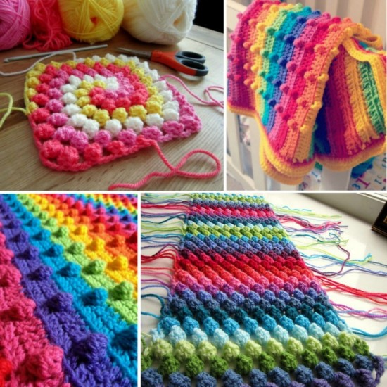 Bobble Stitch Rainbow Blanket Free Crochet Pattern