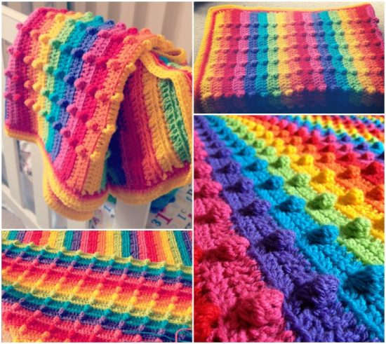 Bobble Stitch Rainbow Blanket FREE Pattern