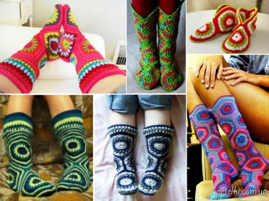 Crochet Granny Square HexagonalSlipper Boots Free Pattern