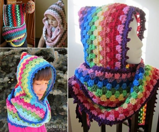 Crochet Harlequin Hooded Cowl Free Pattern