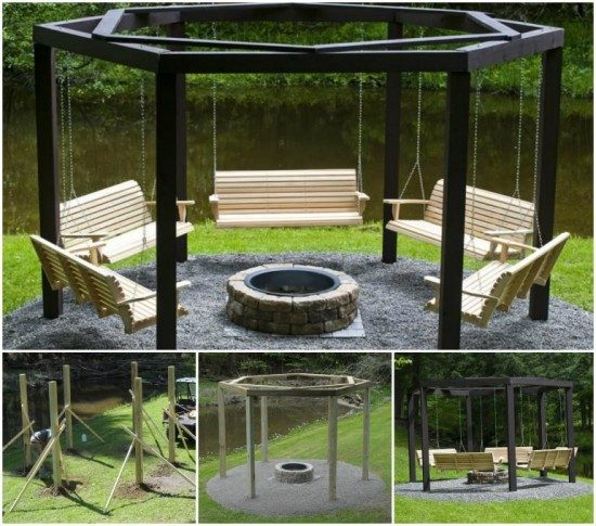 Circular Fire Pit Bench Tutorial - Pergola Fire Pit Swings DIY Project The WHOot
