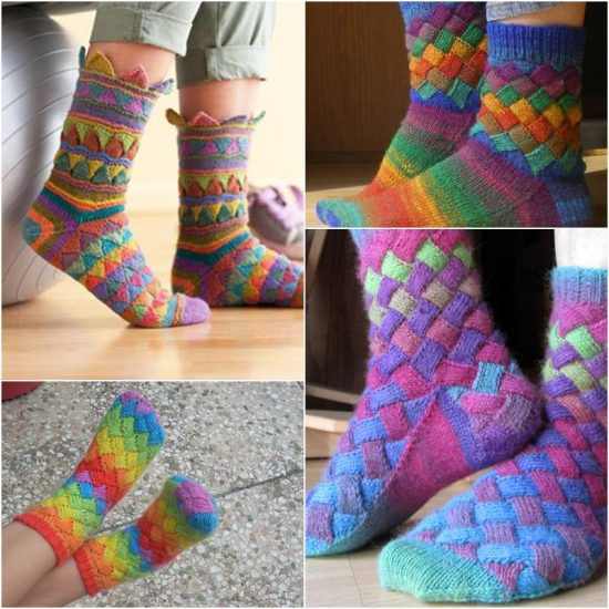 Rainbow Entrelac Socks Free Pattern Easy Video Tutorial Unique Knitted Socks Pattern Free