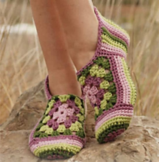 Hexagon Crochet Slippers Free Pattern