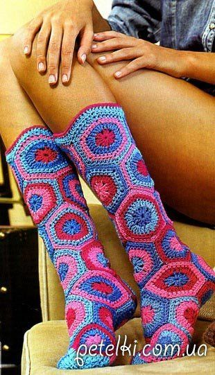 Hexagon Slipper Boots Free Crochet Pattern
