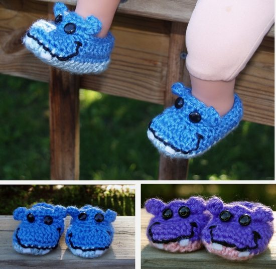 Hippo Booties Free Crochet Pattern