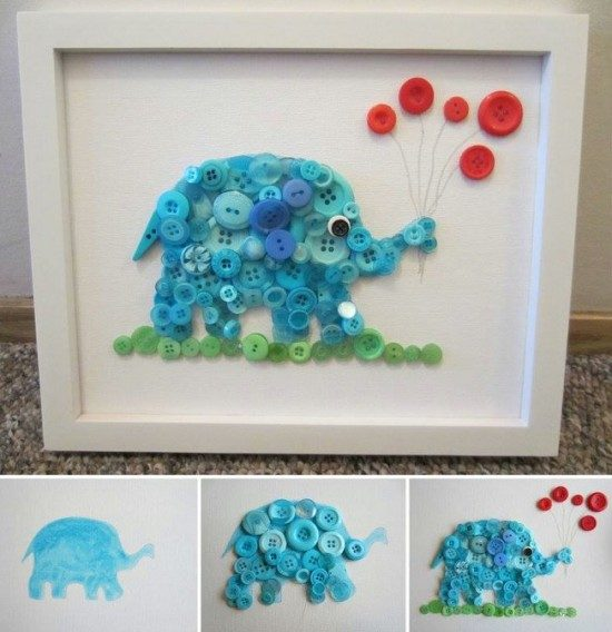 Elephant Button Art