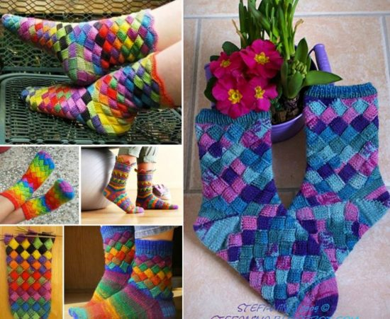 Rainbow Entrelac Socks Free Pattern Easy Video Tutorial Stunning Knitted Socks Pattern Free