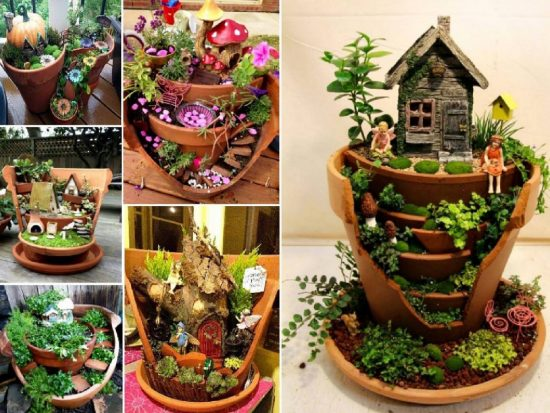 Fairy Gardens in Broken Pots