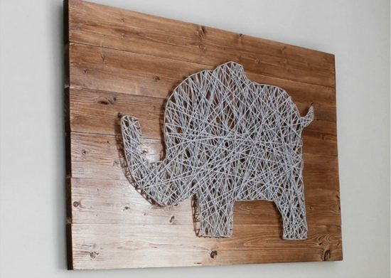 Nail String Elephant Art