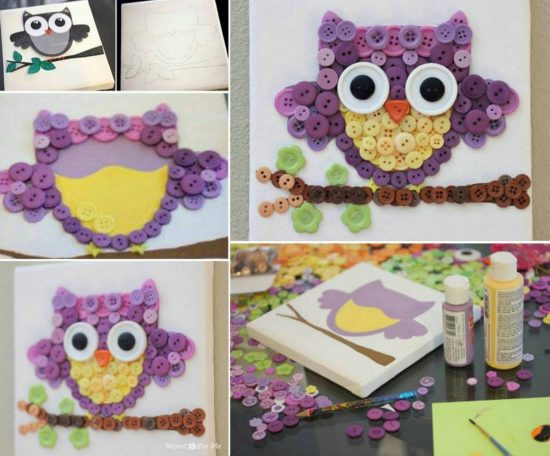 Owl Button Art Tutorial