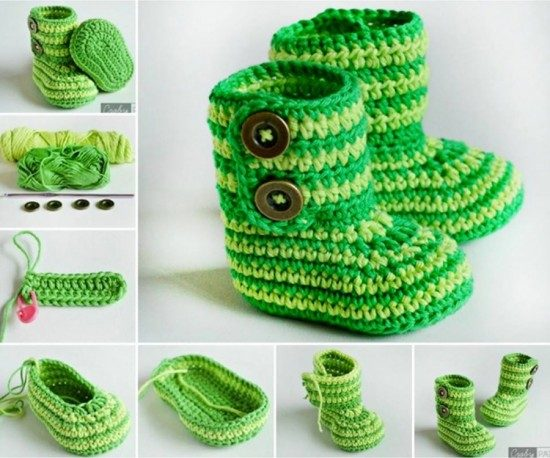 Striped Crochet Baby Booties