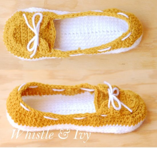 Women's Boat Slippers Free Crochet Pattern