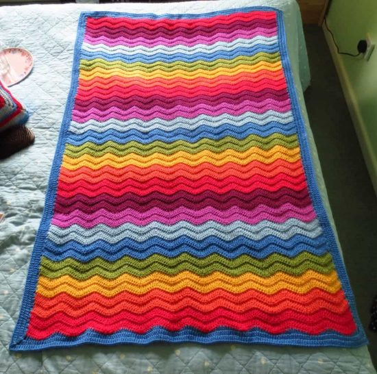 Big Rainbow Ripple Crochet Blanket Free Pattern