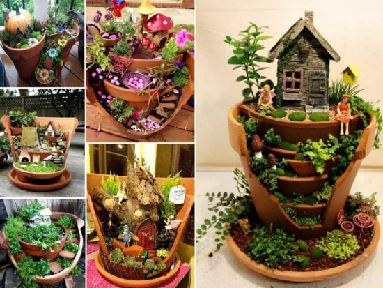 Broken Clay Pot Fairy Garden Tutorial