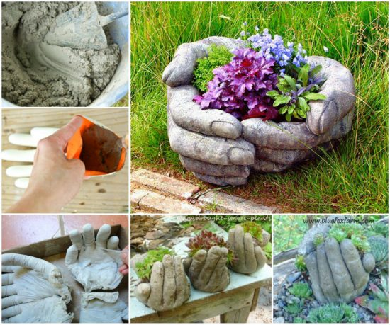 Cement Hand Planters