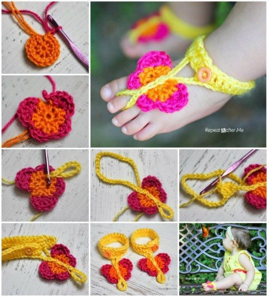 Crochet Butterfly Baby Sandals Free Pattern