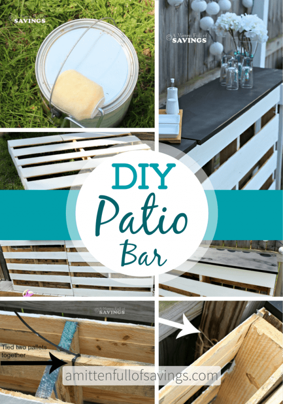 Pallet bar table diy quick and easy video instructions for Diy outdoor bar top