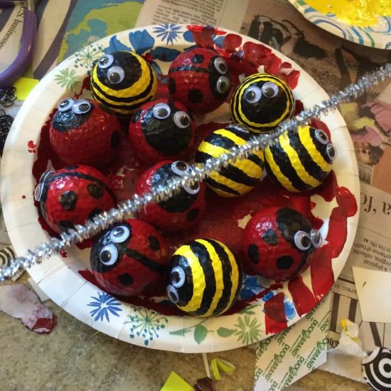Golf Ball Ladybugs and Bumble Bees