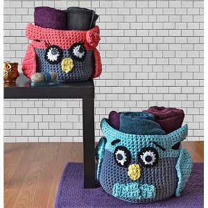 Hooty Owl Crochet Baskets FREE Pattern