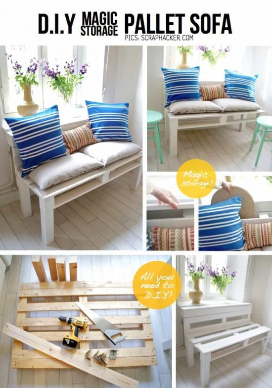 Storage Bench Pallet Sofa Tutorial