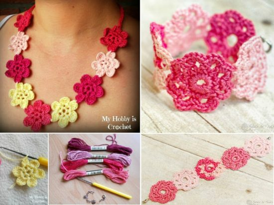 Crochet Flower Necklace and Bracelet Free Patterns