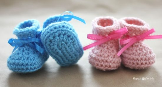 Crochet Newborn Baby Booties Free Pattern