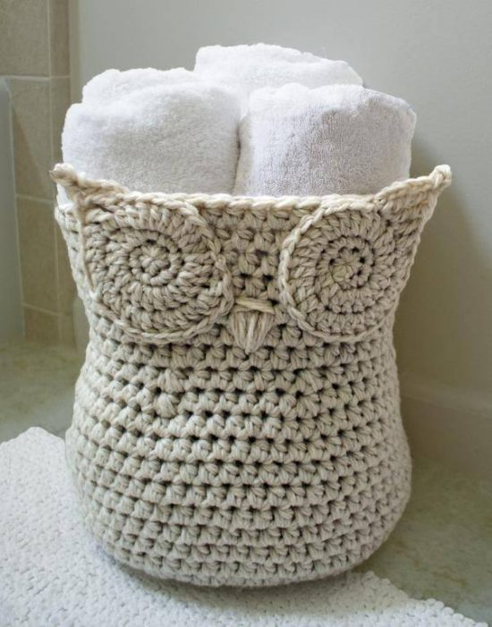 Crochet Owl Yarn Basket Free Pattern