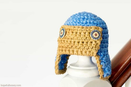 Newborn Aviator Hat Free Crochet Pattern 1
