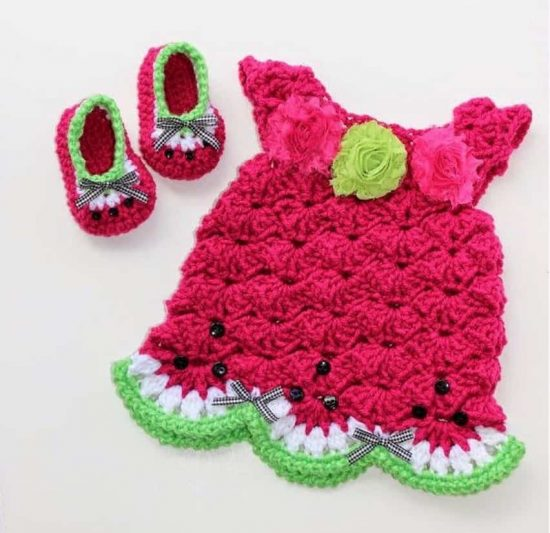 Watermelon Crochet Dress and Booties Free Pattern