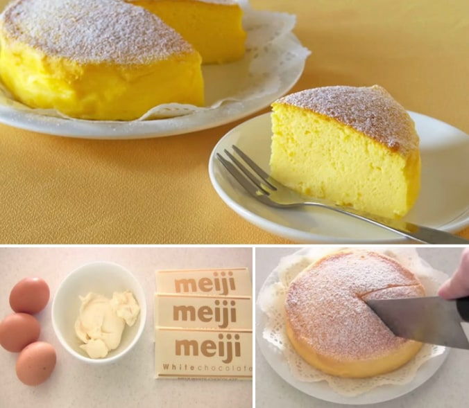 3 ingredient Japanese Souffle Cheesecake Recipe