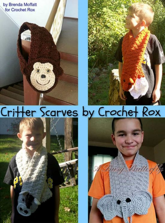 4 Crochet Aimal Scarves Paid Patterns