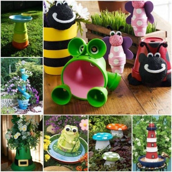 Claypot Critters - Upcycle Clay Pots using Terracotta Pots and Saucers to create these amazing creations including claypot bird bath, clay pot planter, clay pot frog, clay pot toadstools, clay pot lighthouse, clay pot bee, clay pot butterfly, clay pot ladybug.