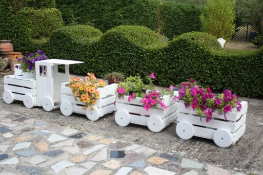 Wooden Train Garden Planter