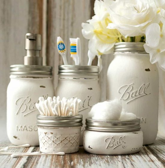 Distressed Mason Jar Bathroom Storage Accessories