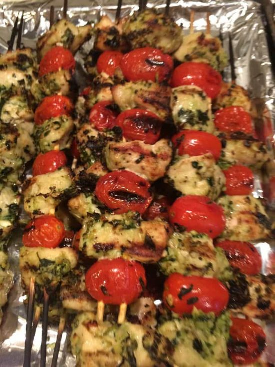 Grilled Chicken Pesto Kabobs