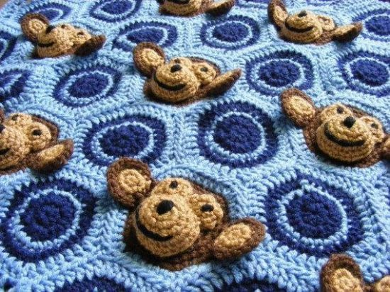 Baby Boy Blue Monkey Face Blanket Crochet Pattern