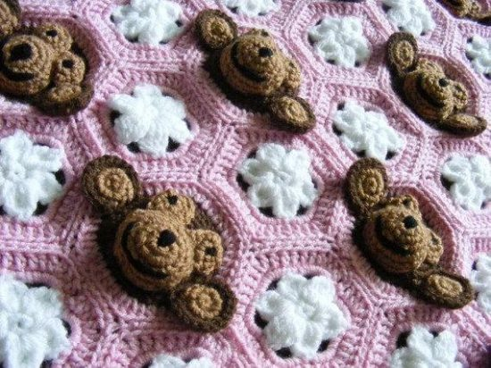 Baby Girl Pink Monkey Face Blanket Crochet Pattern