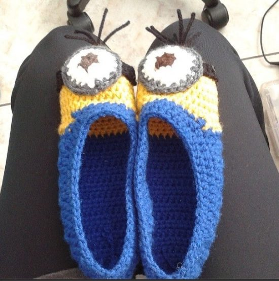 Minion Slippers Free Crochet Pattern Adult Size