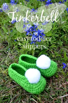 Tinkerbell Toddler Slippers easy free Crochet Pattern