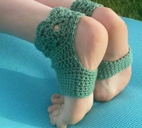 Yoga Crochet Socks Green Free Pattern