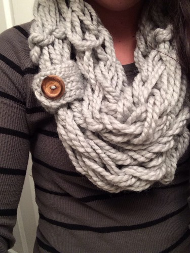 Arm Knitted Button Scarf Free Pattern