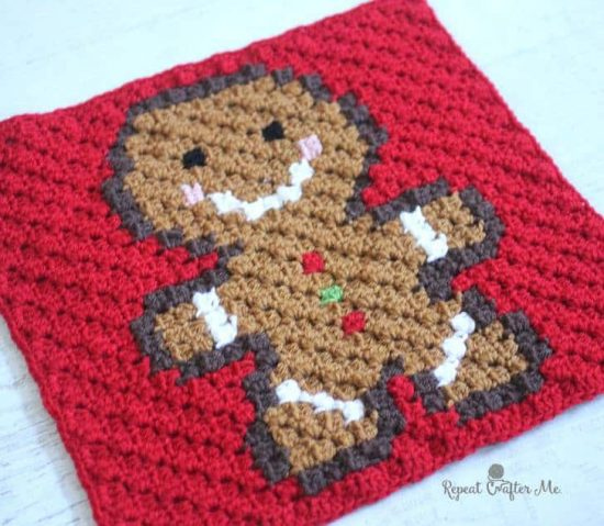 Christmas Crochet Gingerbread Man Square FREE Pattern