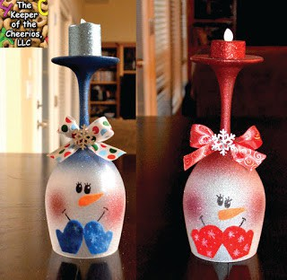 Christmas Snowmen Wine Glass Candle Holders