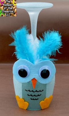 Christmas Winter Owl Wine Glass Candle Holder