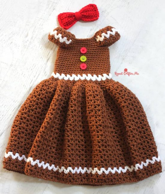 Crochet Gingerbread Dress Free Pattern