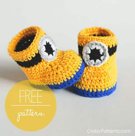 Crochet Minion Booties Pattern Is One Of Many The WHOot Gorgeous Free Minion Crochet Pattern